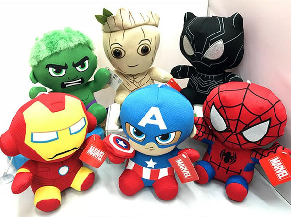 top popular DHL Marvel Stuffed Doll Come With opp Packaging 20CM High Quality The Avengers Doll Plush Toys Best Gifts For Kids Toys 2019