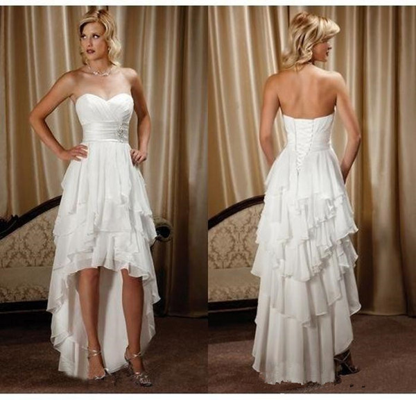 High Low Beach Wedding Dresses Vintage Lace Up Corset Tiered Skirt Western Country Cowlgirls Short Front High Low Bridal Gown