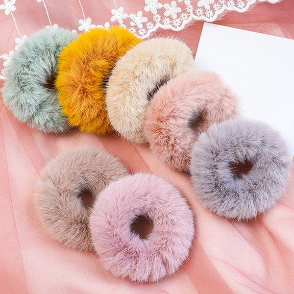 NEUHEITEN Winter Elastisches Haar Gummiband Haar Tiara Erwachsene Einfache Einfarbig Weichem Plüsch Band für Frauen Zubehör