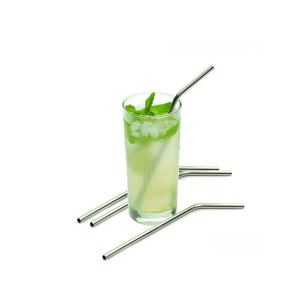 top popular 8 10 Inches Steel Straws Straight Drinking Straw Bent Stainless Steel Straws Reusable Drinking Straw Drinking For Bar Party 2021