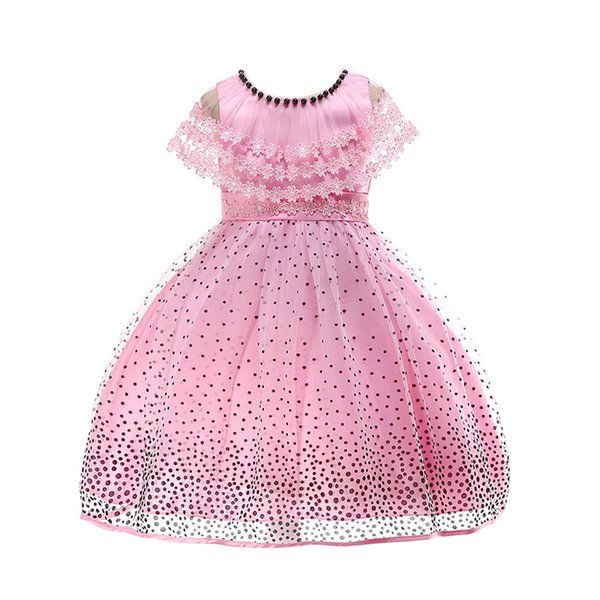 SAGACE Girl Wedding Dress Girls Party Dress for Kids Girls Princess Dresses Costume For Children Dot Print Lace Dresses
