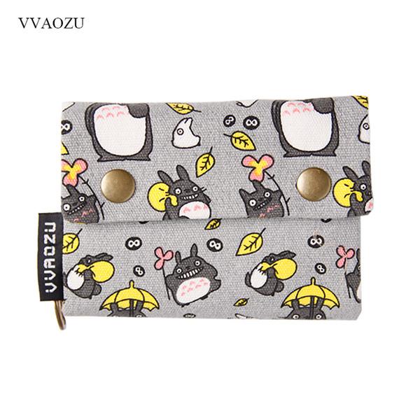 Nuevo Anime Japón TOTORO Cat Wallet Pouch Case Short Canvas Money Bags Kumamon Bear Print Card Holder Zipper Coin Pocket Monederos
