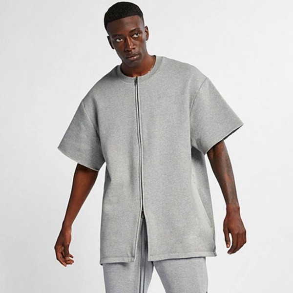 19SS Fear of God FOG Baseball T-Shirt Jacket Grigio Street Hip Hop Semplice Casual Tee Uomo Donna Moda Estate Solid manica corta HFYMTX479