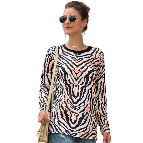 Beiläufiges stilvolles Patchwork der Herbst-Fall-Frauen niedliche runde Hals-Hemden-Leopard-Druck-lose T-Shirt T-Stück grundlegender langer Hülsen-weicher Blusen-Pullover
