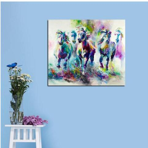 2019 Hot sales Wholesales Free shipping Frameless Huge Wall Art Oil Painting On Canvas Abstract Horse Animal Home Decor
