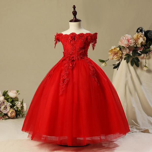 2019Neue Mädchen Sommer Prinzessin Kleid Mädchen Hochzeit flauschige Mädchen One-Shoulder-Kleid Kinder Host Klavier Kostüm Blume
