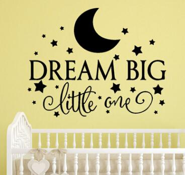 Dream Big Quote Wall Stickers Removable Characters Art Vinyl Murals Home Kids Room Wall Decal Decoration