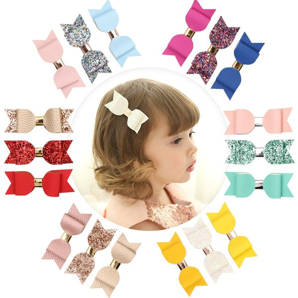 top popular 3.5 inch Baby Bow Hairpins Mini hand made Leather Bows Hair grips children Girls Hair Clips Kids Hair Accessories 3 Piece Set 2021