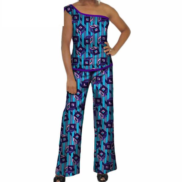Ropa africana para mujer 2019 Top de un hombro y pantalones Mamelucos africanos para mujer Conjuntos de 2 piezas Pantalones largos rectos