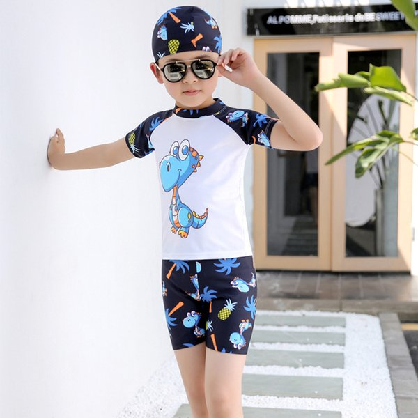 Boys Swimming Suits 3pcs/set Hat+Shirts+Shorts Kids Swimwear Boy Beachwear Sports Swimming Trunks for Children Swim Suit