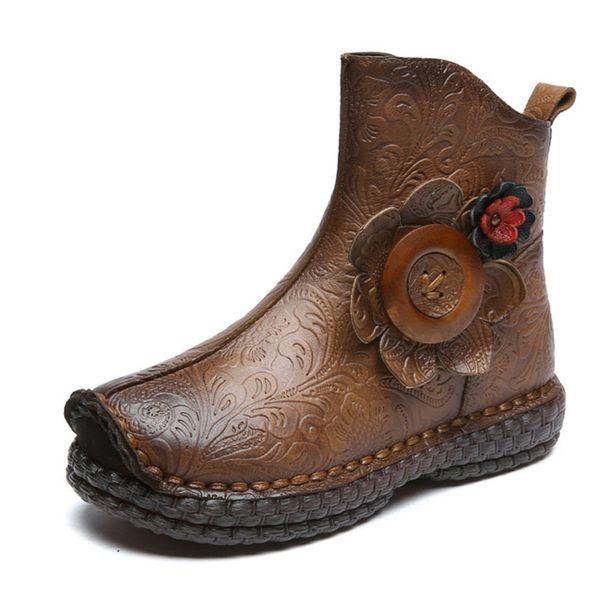 Национальный Стиль Натуральная Кожа Сапоги Женские Дамы Улица Винтаж Теплая Обувь Из Натуральной Кожи Мать Zapatos De Mujer
