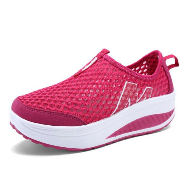 Designer Dress Shoes Spring and Summer New Comfortable and Breathable Rocking Nice Women's Casual Light Wedges Single Mesh