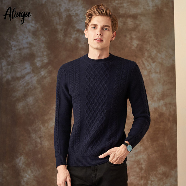 Winter Thick Warm 100% Goat Cashmere Sweater Men Brand Pullover Sweater Rib Knit Fashion Korean Streetwear Plus Size Jumpers