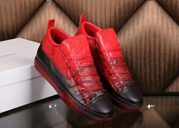 [Con la caja] Lujosa marca Arena Zapatillas de deporte Moda Futuro Kanye West Gradient Hombres de cuero genuino Casual Entrenadores 2019
