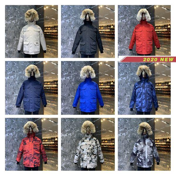 Канада Теплого манто мех с капюшоном Толстого зима Мужчины гуся пуховик для Канады Мужской Куртки Шинель Man Outwear Parka