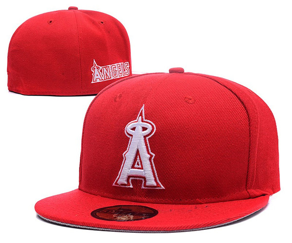 Free Shipping 2019 Popular Design Fan's Sport Baseball Angels Full Red Color Closed Hats Summer Out Door Sun Visor Caps Brand Hip Hop Bone