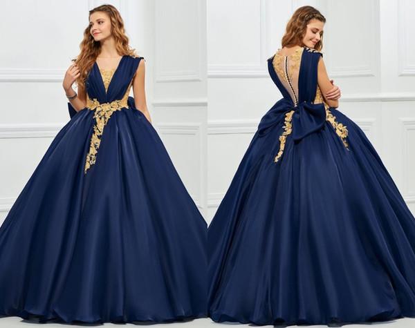 패션 해군 블루 골드 락 2019와 함께 Quinceanera 댄스 파티 드레스 공 가운 보석 쥬얼리 중공 골동품 백프레 Aree Applique Long Cheap Sweet 16 dress