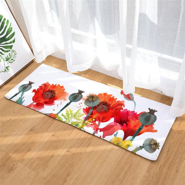 40*60cm Water Absorption Bathroom Mat Toilet Carpet Non-slip Flannel Rug Soft Kitchen Door Floor Mat Carpet Bath Mat