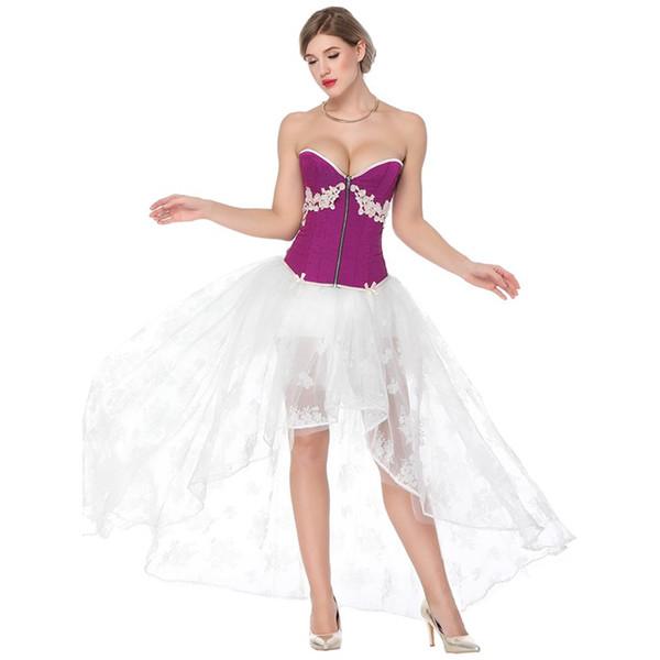 Purple Corset White Skirt