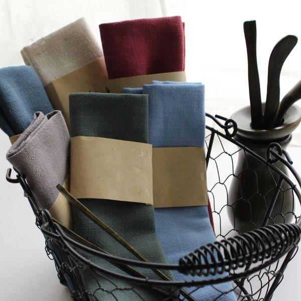 top popular 5pcs Foreign trade pure cotton tea towel napkin cloth super absorbent cotton plain baked fabric kitchen towel 2021