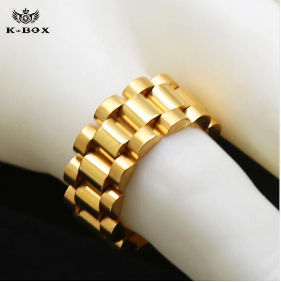 Pay4U 24K plaqué or classique hommes bagues en acier inoxydable anneau de lien doré Hip hop Mens Style de bracelet Président président bague hommes bande anneau