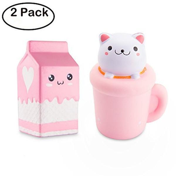 2 adet Hayvan Squishy Kedi Fincan Süt Tatlı Kokulu Vent Charms Kawaii Çocuk Oyuncak El Bilek Oyuncak Hediye Stres Giderici Oyuncak Güzel