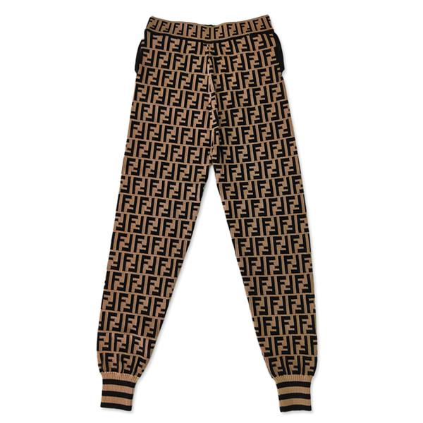 2019 été Leggings Haute Qualité Femmes Vêtements De Luxe Lettre Glace De Soie En Tricot Élastique Taille Vent Sport Slim Femmes Pantalon Taille S-L