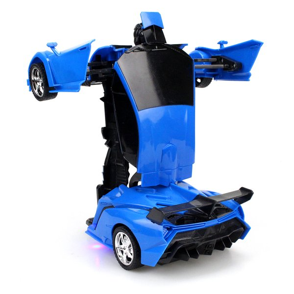 Blue RC Car Transformation Robots Sports Vehicle Model Robots Toys Cool Deformation Car Kids Toys for Children Boys Girl Gifts