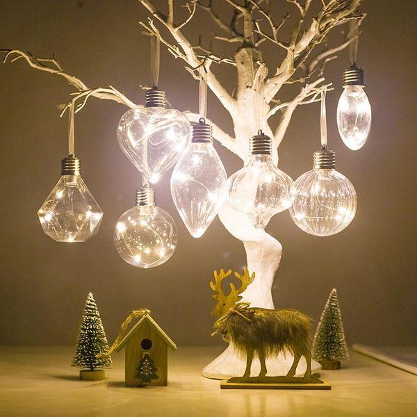 Christmas Tree PET Filament Light Bulb Ball Hanging Battery Operate Lamp Decor