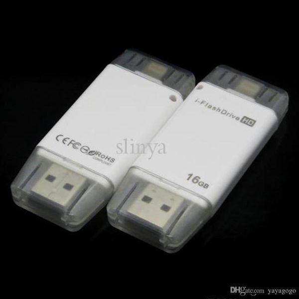 Navio rápido atacado i-flashdrive 16g / 32g telefone móvel cartão de memória estendida Leitor de cartão de memória flash drive USB para iphone ipad velocidade rápida