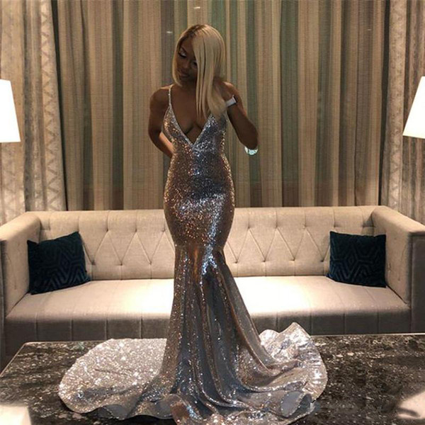 2019 Blink Sequined Mermaid Evening Dresses Sexy Deep V Neck Spaghetti Long Formal Party Wear Prom Dress