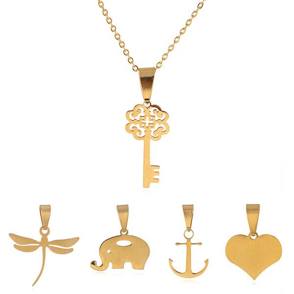 fashion stainless steel key set can replace pendant set for one week ,changeable joyas de acero inoxidable,joyas de acero,women joyeria