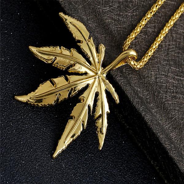 Hip Hop Gold Plated Men Necklace Fashion Designer Leaf Pendant High Quality Cuban Chain Groom Accessories