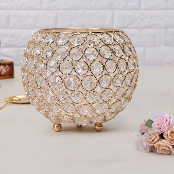 15cm Dia Metal Crystal Glass Bowl Candle Holder/Lantern for Wedding,Birthday Party Decoration Hollow Flower Vase Table centerpieces