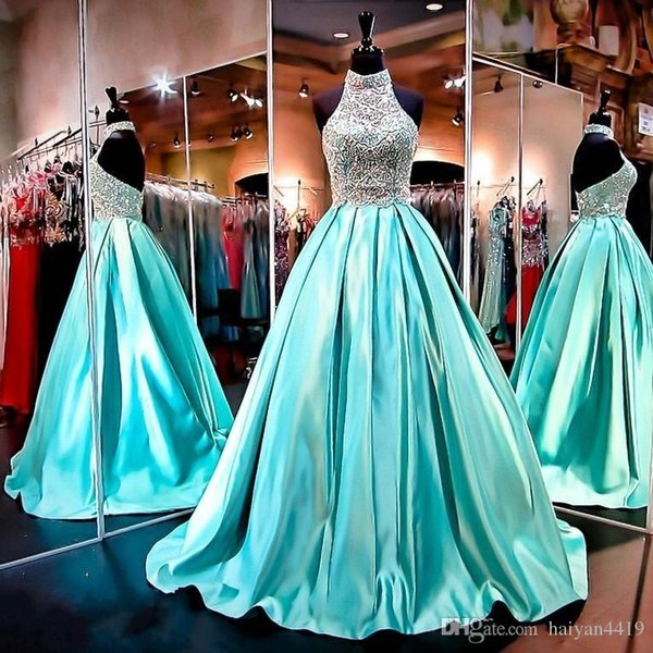 Bling Prom Dresses High Neck Illusion Crystal Beading Satin Turquoise Mint Backless Sweep Train Formal Party Dress Evening Gowns