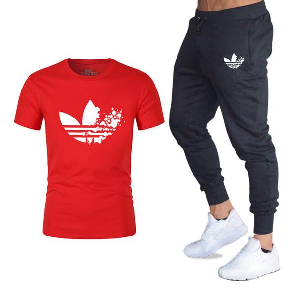 2019New T-shirt casual da uomo palestra Pantaloni da palestra Pantaloni da uomo T-shirt + pantaloni in due pezzi Abbigliamento sportivo casual Tuta da corsa