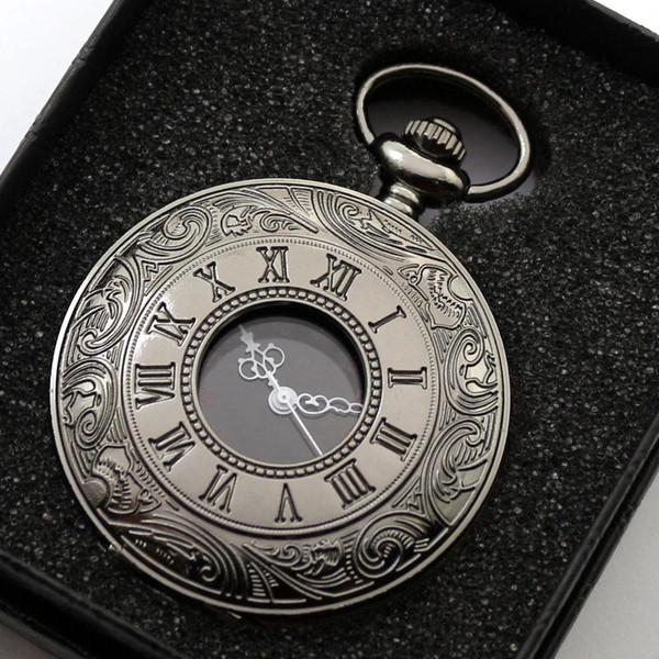Vintage Tam Siyah Romen Rakamları Kuvars Pocket Watch Erkek Kadın Fob Saatler Kolye Kolye Ile Analog Saat Hediye Kutusu