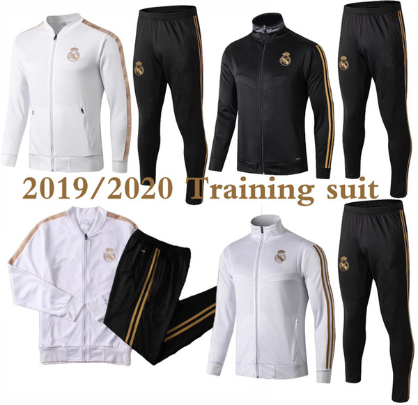 top popular 2019 2020 Real Madrid tracksuit soccer jacket full zipper tracksuit 2019 real madrid Maillot De Foot HAZARD ISCO jersey tracksuit 2020