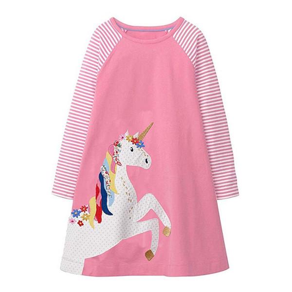 Kids Girls Dress Long Sleeved Children Girls Unicorn Blue Pink Cartton Animal Embroiderd Cotton Baby Girls Dress INS