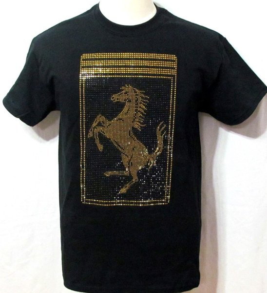 06b99e874 MEN'S F-rrari T-Shirt with Large Scudetto W/ RHINESTONE ON FRONT SHORT