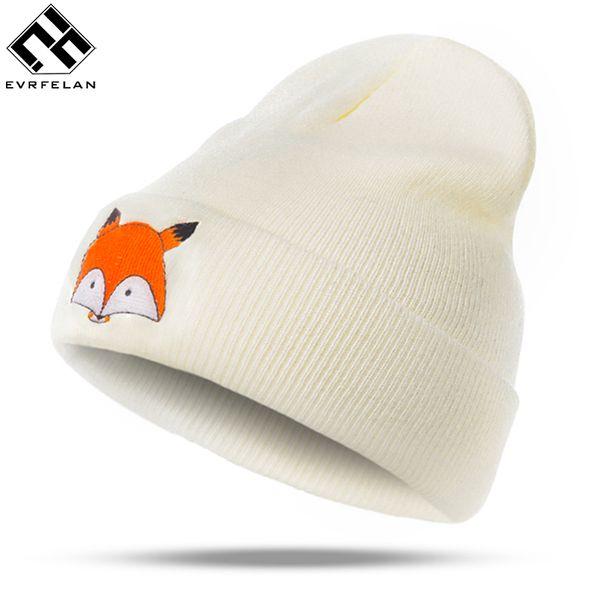 Compre Evrfelan Marca Lovely Fox Patrón Sombrero Mujeres De Punto ...
