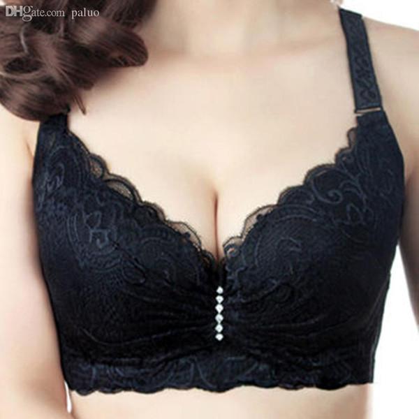 Wholesale-Hot 2016 New Sexy Ladies Big Size 3/4 Cup Lace Push Up Bra Women Black Bralette Deep V Bras Underwear Large Cup C D Plus Size Z1