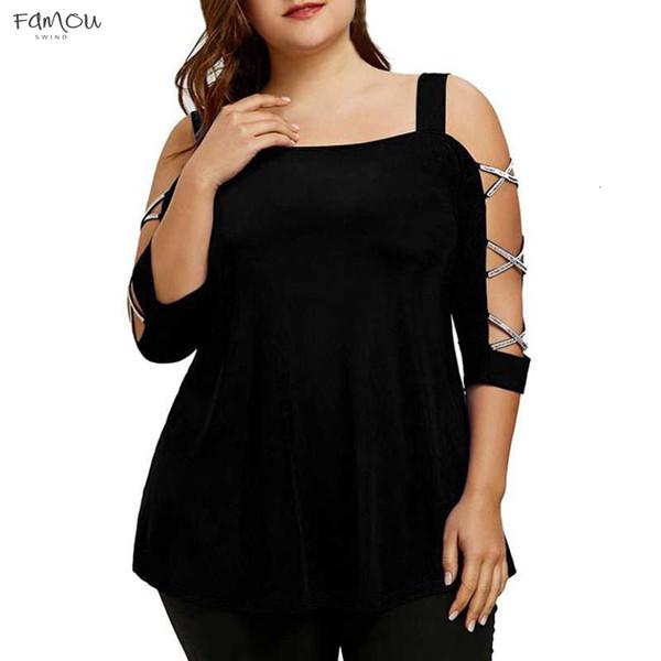 Plus Size Shirt Frauen Kleidung Lässige Big Women Bluse Sommer Kreuz Badage Bluse O-Ansatz Größe übersteigt Hemd Blusas
