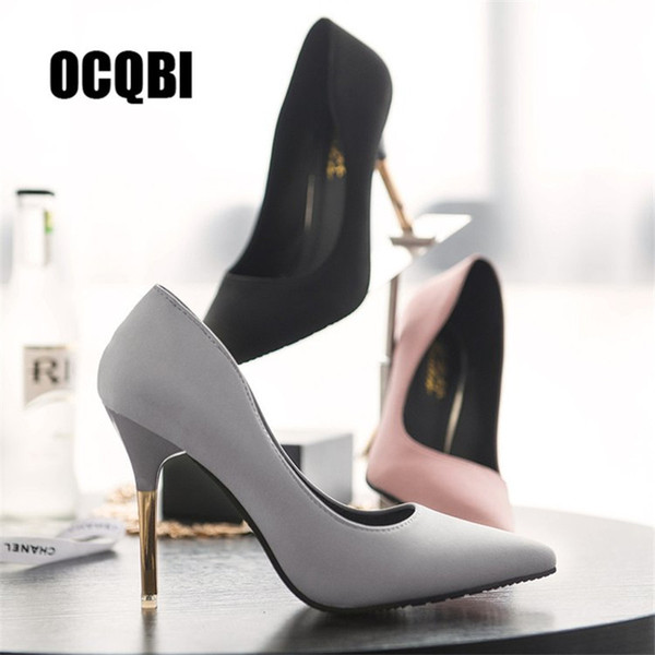 Shoes Classic Black Pink Grey Red Bottom Brand Women Thin Super High Heels Pumps 10cm Silk Pointed Toe Evening Party Dress Pumps