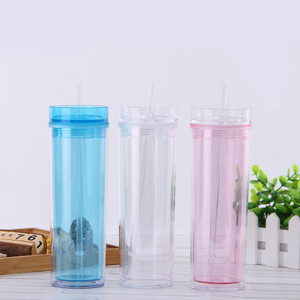 15oz Transparent Double Layer Mug With Straw Creative Cute Water Tumblers New Sport Water Bottle Sealed Leakproof Plastic Cup DBC VT1708
