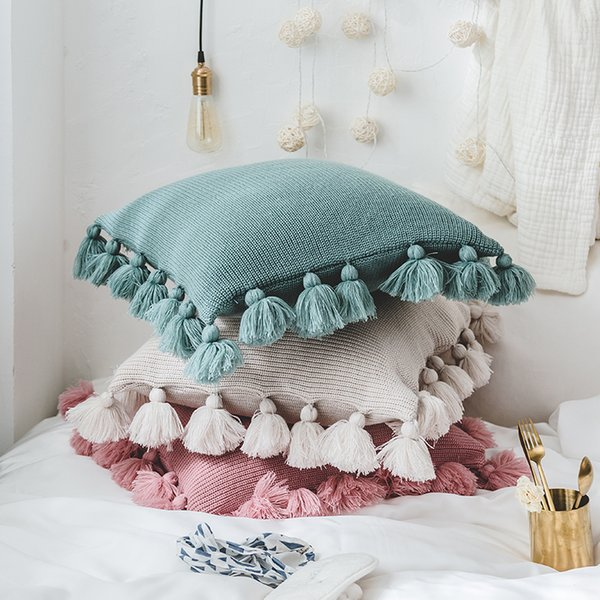 Fine New Knit Pure Cushion Pillow Acrylic Ball Tassel Home Sofa Bed Room Textile Adult Child Lover Beauty Dec Wholesale Wicker Couch Cushions 25X25 Outdoor Forskolin Free Trial Chair Design Images Forskolin Free Trialorg