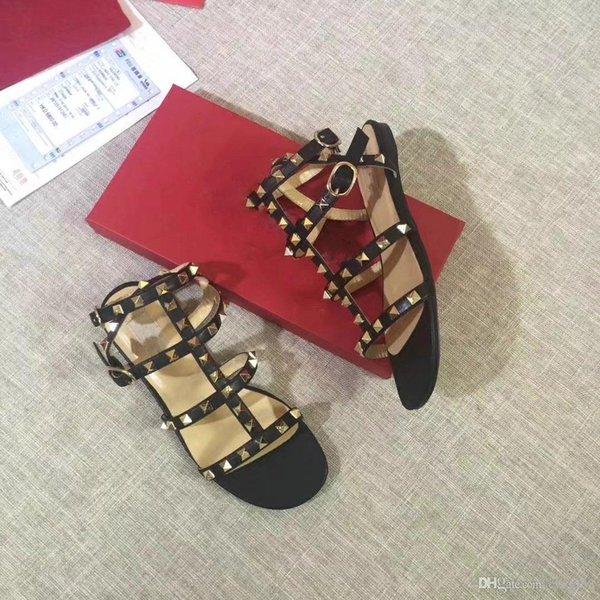 2019 Sandali con rivetti estivi di nuova moda con cinturino per unghie in salice Sandali con punta aperta taglia 34-42 + Box