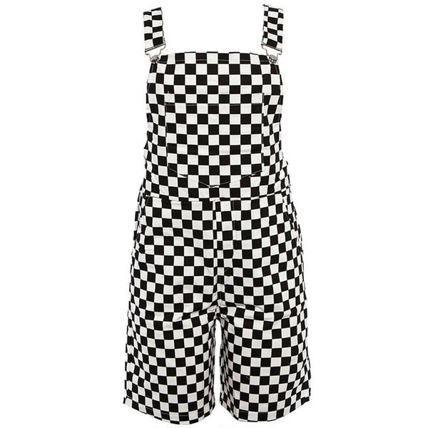 Tablero de damas Pantalones cortos Shorts mujeres Casual Streetwear Harajuku mameluco sin espalda correa a cuadros negro blanco Playsuit Y190502