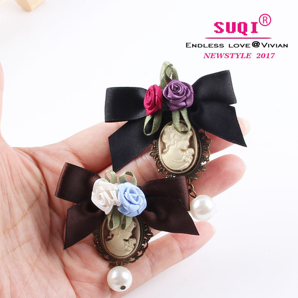 SUQI fashion Delicate Handmade Ribbon bow Rose brooch jewelry Green Bow with Elegant Queen Cameo and Venetian Pearl for women Brooches 2019
