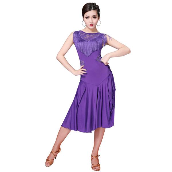Femmes Fille Robe De Danse Latine 5 Couleurs Frange Vêtements Cha Costume Cha Cha Salsa Rumba Costume De Tango